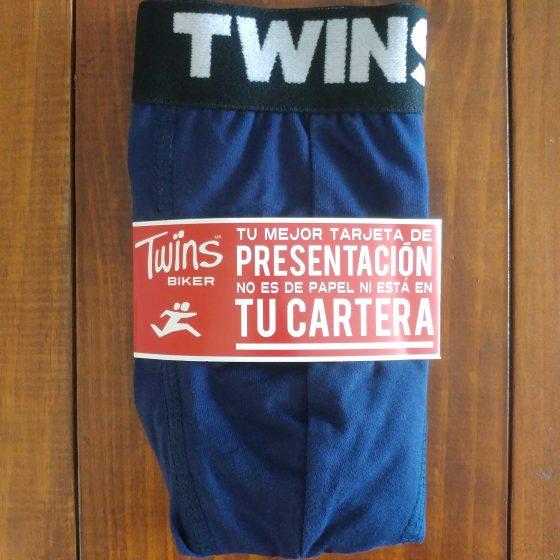 Boxer Brief, calzón tipo biker, ropa interior para hombre de tela de algodón peinado y spandex color azul marino. Marca Twins.