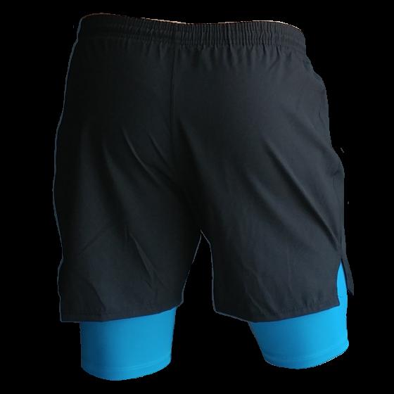 Short deportivo para correr hombre. Licra. Runner shorts. Negro Azul. Ropa deportiva hombres. Tienda para hombres.