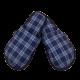 Pantuflas para hombre de franela de algodón con cuadros Azul Marino, Azul Claro.